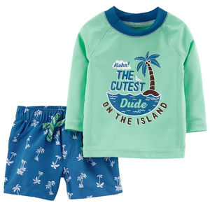 Carters Baby Boy Rash Guard & Swim Trunks Set